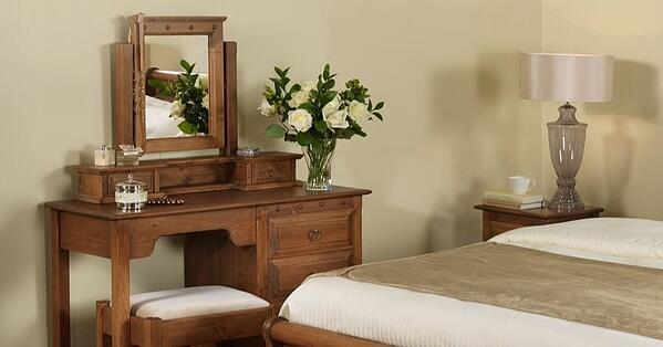 a solid oak dressing table