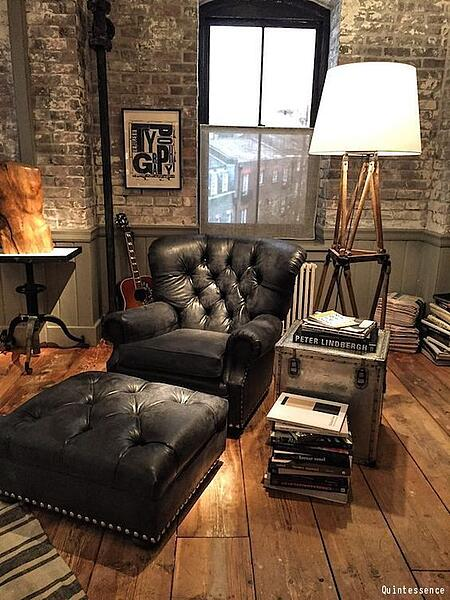wood and leather man cave