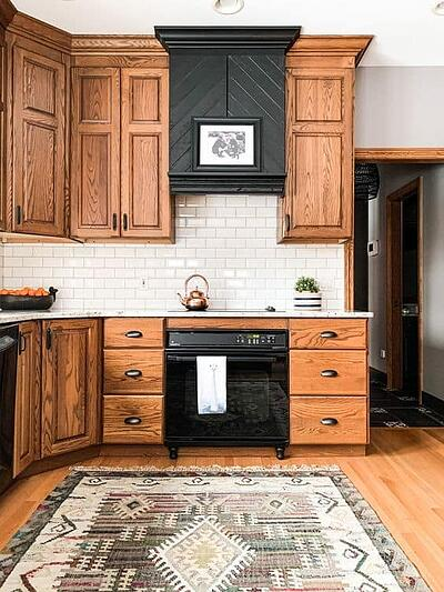 solid oak kitchen and rug