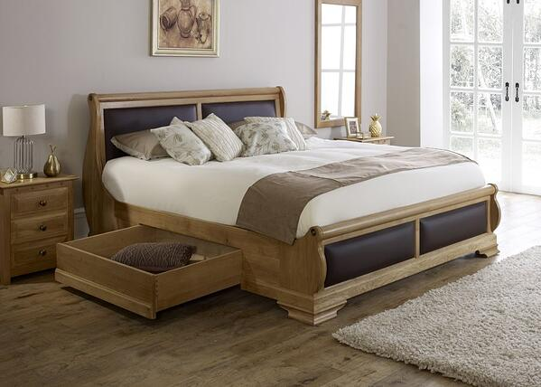 Amalfi Sleigh Bed with Chocolate Leather Open Drawer