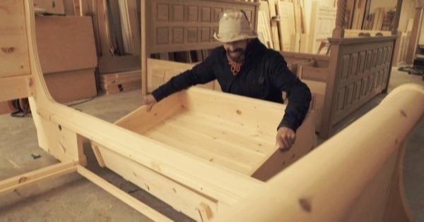 Craftsman Making Bespoke Sleigh Bed-