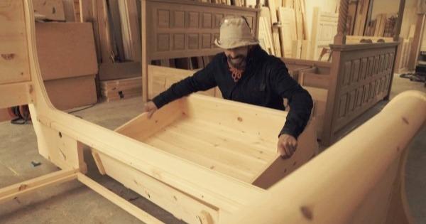 Craftsman Making Bespoke Sleigh Bed