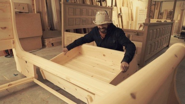 Craftsman Making Bespoke Sleigh Bed