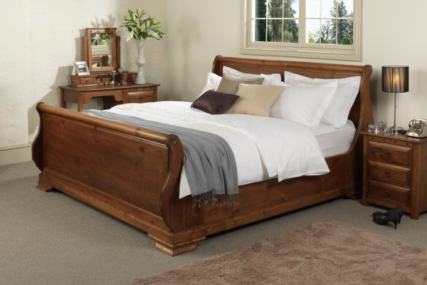 Dark Wood Sleigh Bed