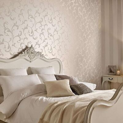 metallic bronze and cream patterned wallpaper with matching bed and headboard