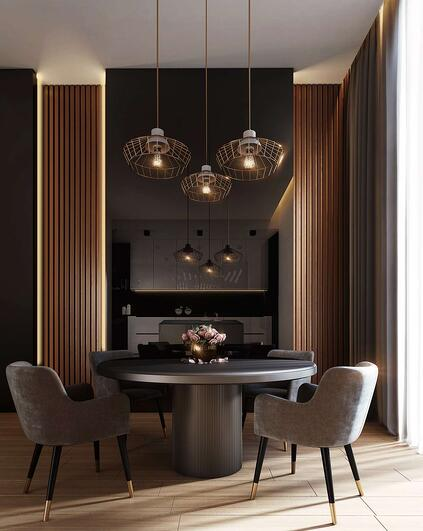 Modern traditional grey, black and gold dining room with round dining table