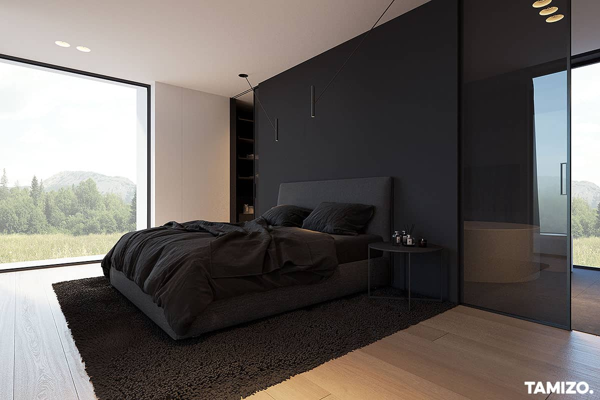 black coloured bedroom