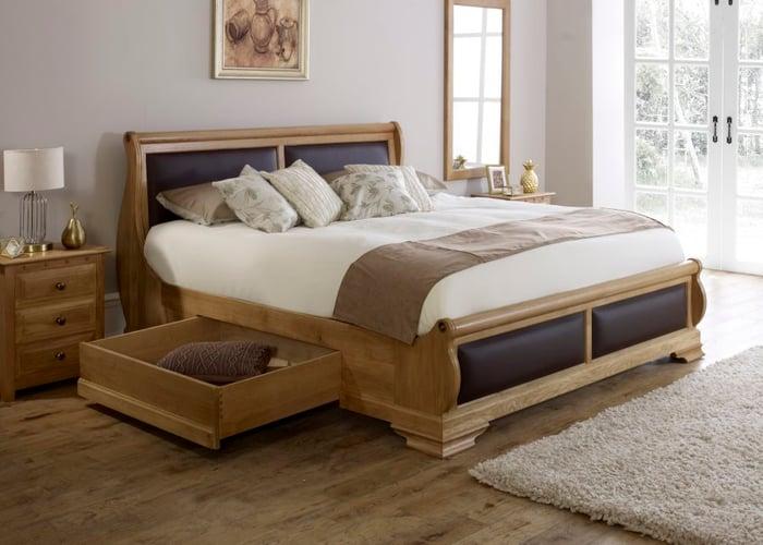chocolate amalfi sleigh bed