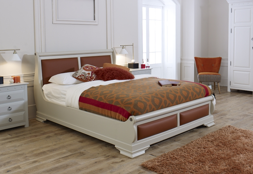 Painted Real Leather Sleigh Bed
