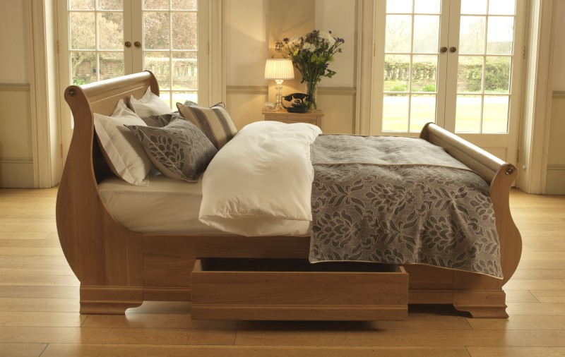 French Style Sleigh Bed In Solid Oak