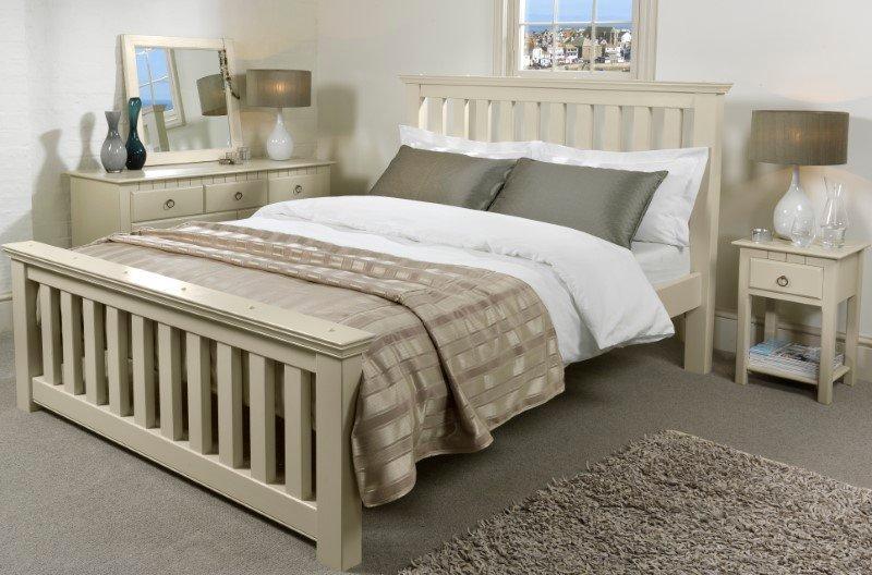 Painted Wooden Bed and Bedroom Furniture