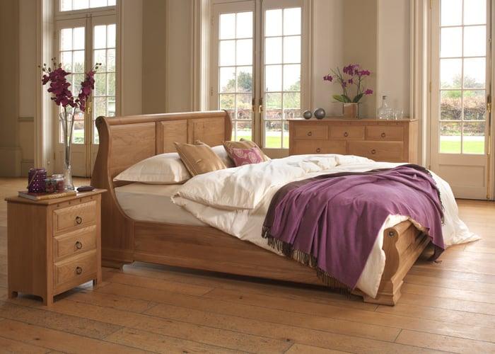 monaco sleigh bed solid oak