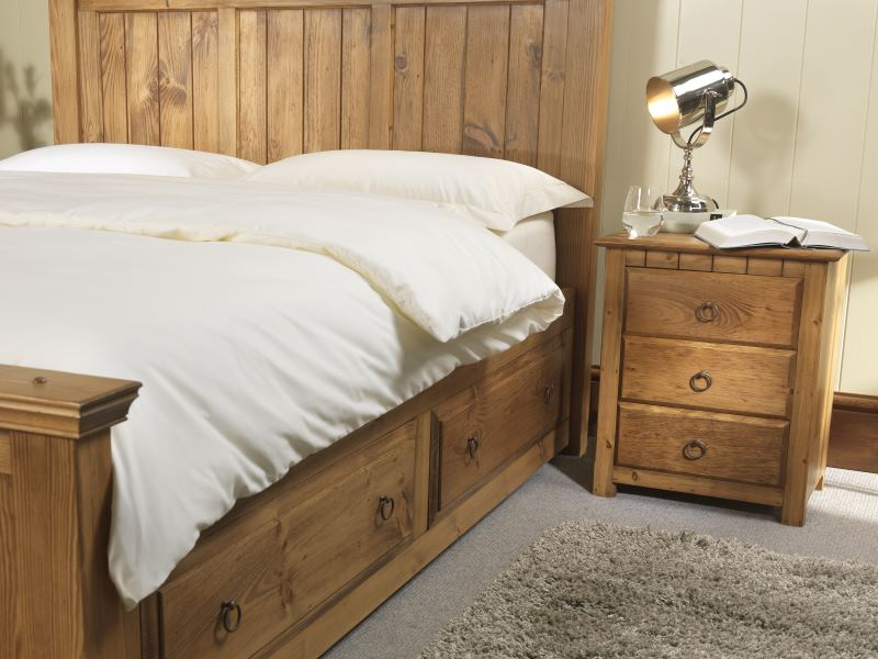 New England Solid Wood Bedside Cabinet