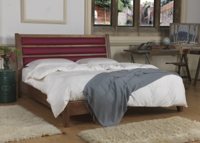 Solid Wooden Bed With Real Leather Headboard