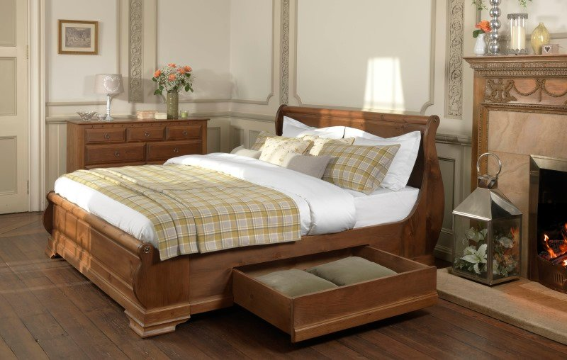 Solid Wood French Sleigh Bed