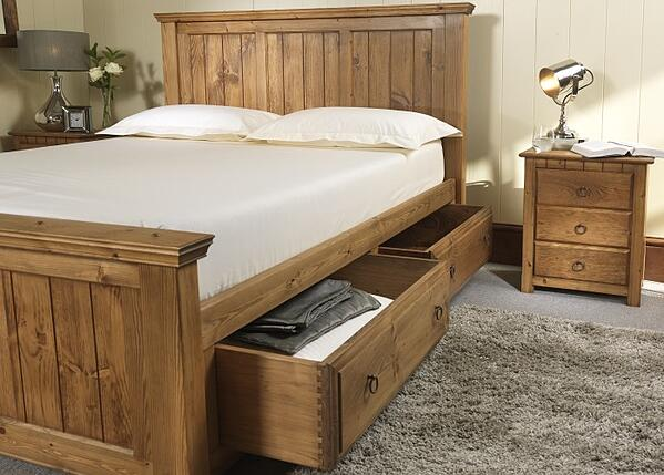 Handmade Wooden Bed with Storage Drawers