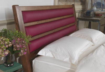 Wooden Headboard With Red Leather Panels