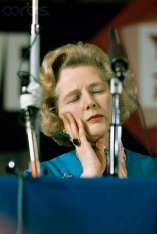 08 Feb 1975, Eastbourne, East Sussex, England, UK --- Conservative Party leader Margaret Thatcher dozes off during a 1975 national conference of conservative youth in Eastbourne. Thatcher, a pro-Europe politician, co-chaired the conference with Willie Whitelaw. --- Image by © Selwyn Tait/Sygma/Corbis