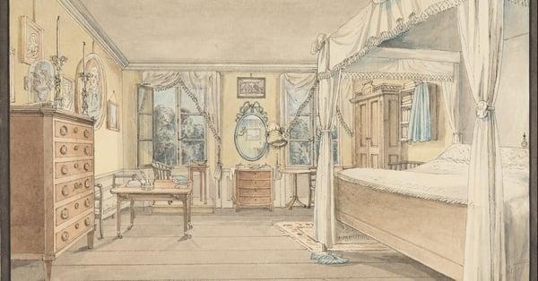 bedroom interior sketch for custom-made beds