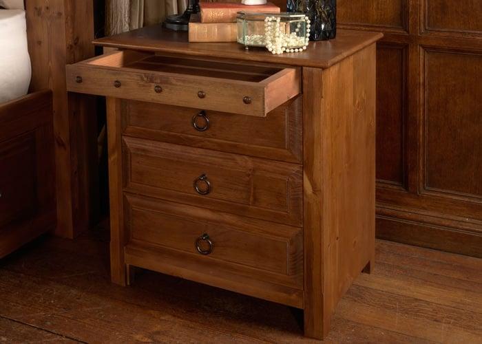 large wooden bedside cabinet