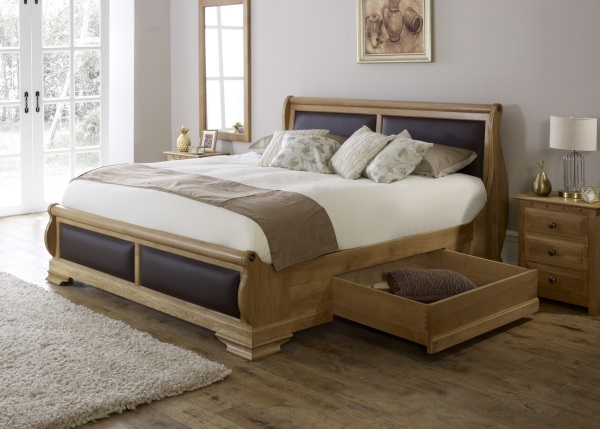 Solid Oak Sleigh Bed with Storage Drawers