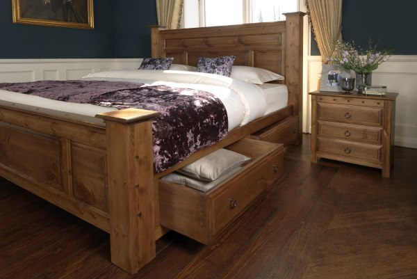 Solid Wood Bed with Drawer