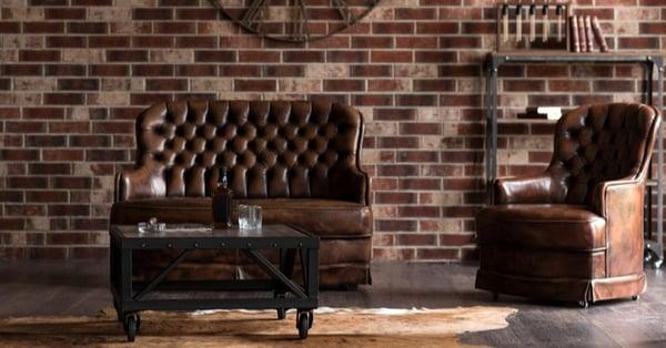 chesterfield sofa in gentleman's study