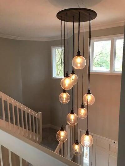 hanging lights above hallway