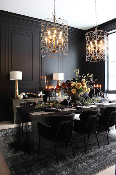 dining table in elegant living room