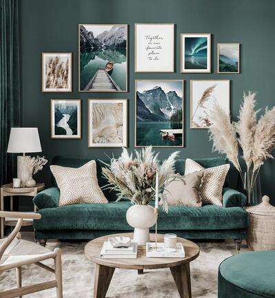 elegant living room with pictures and art