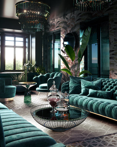 green elegant living room with sofa-1