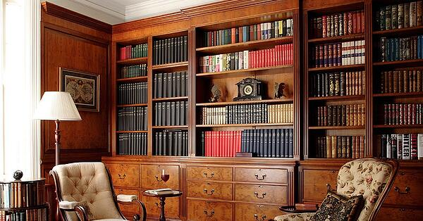 wooden gentleman's study bookcase