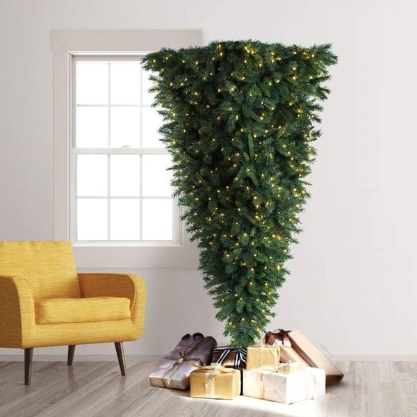 upside down christmas tree - christmas bedroom inspiration