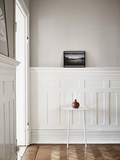 white half wall wood panelling