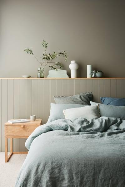 understated and elegant half wall wood panel